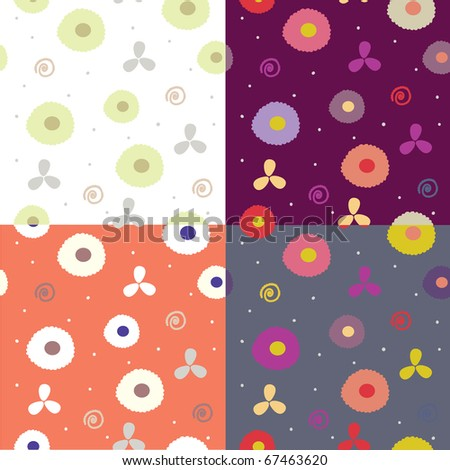 Seamless abstract patters bright set - stock vector