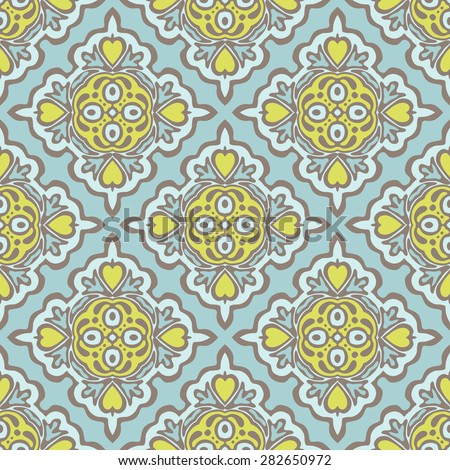 Seamless abstract tiled pattern vector. Geometric classical damask ornament - stock vector