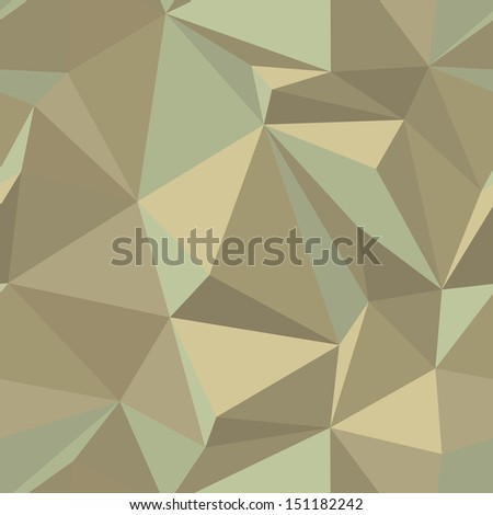 Seamless abstract vector pattern in vintage colors - geometric triangle mosaic background - stock vector