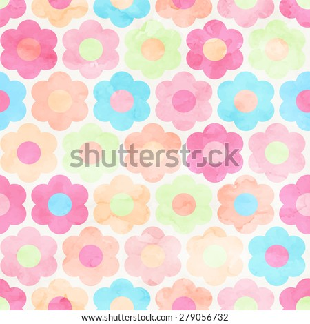 Seamless Abstract Watercolor Flower Background Pattern. Painted  - stock vector