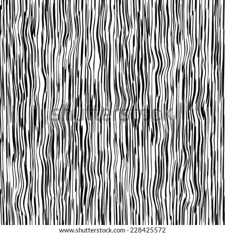 Seamless abstract wooden texture. Black and white vector background. - stock vector
