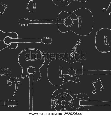 Seamless acoustic guitar and bass guitar chalk sketch pattern  - stock vector