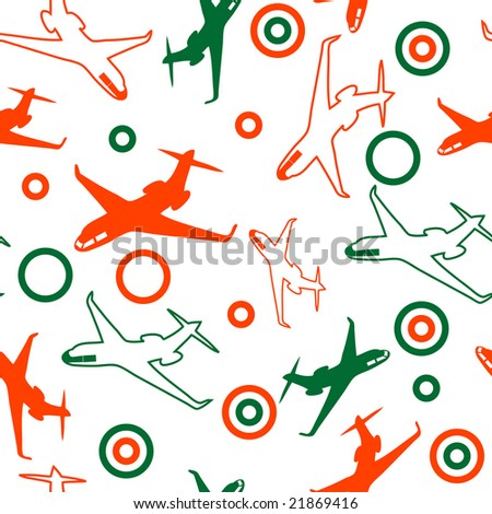 seamless airplane background - stock vector