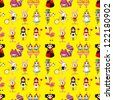 seamless Alice in Wonderland pattern,cartoon vector illustration - stock vector