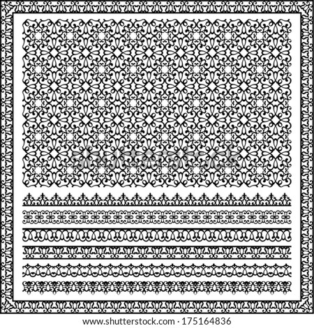 seamless and linear patterns in black - stock vector