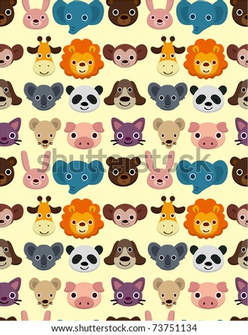 seamless animal face pattern - stock vector
