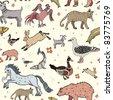Seamless animal pattern - stock vector