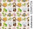 seamless animal pattern,cartoon vector illustration - stock vector