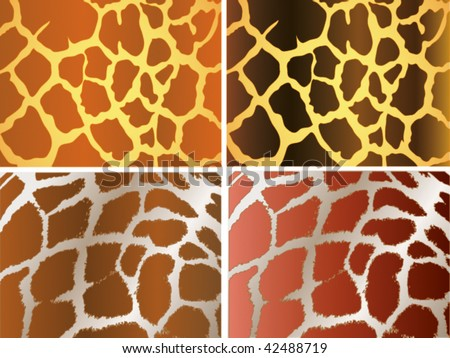 Seamless animal pattern skin fur vector giraffe pack - stock vector