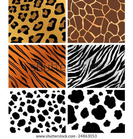 seamless animal patterns set - stock vector