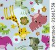 seamless animal safari pattern - stock vector