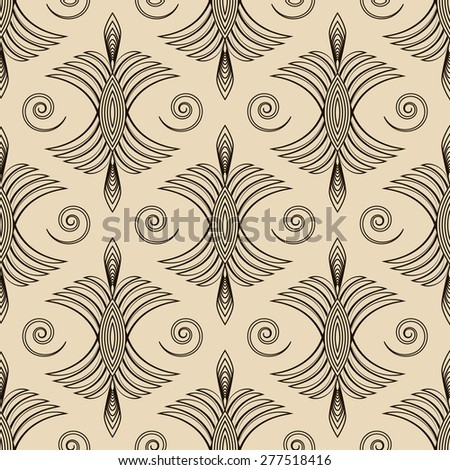 Seamless antique pattern ornament geometric art deco stylish background. Vector repeating in monochrome colors - stock vector