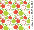 Seamless apple background - vector pattern - stock vector