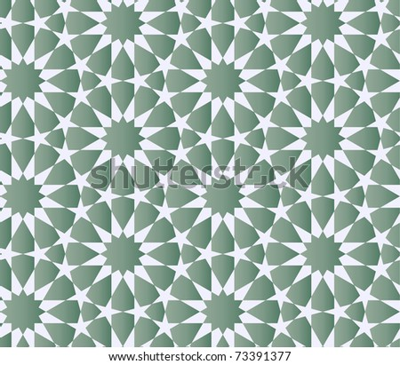 Seamless arabic background with flowers and stars