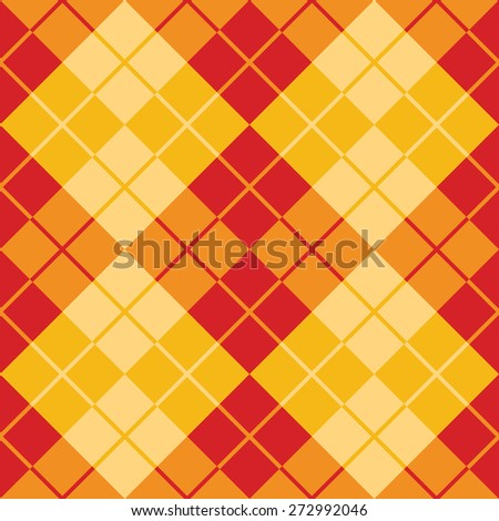 Seamless argyle pattern in contrasting colors of red and yellow. - stock vector