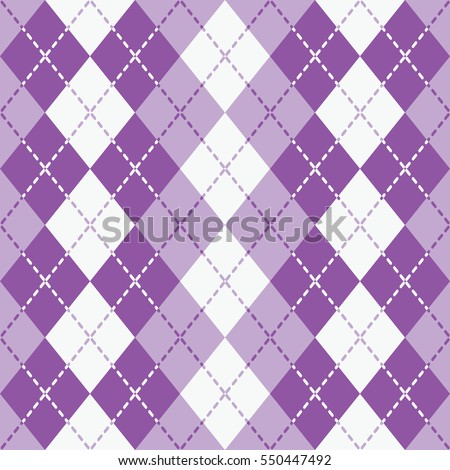 Seamless argyle pattern with dashed lines in shades of  purple and white. Elements are grouped by color. Pattern is in Swatches Palette.