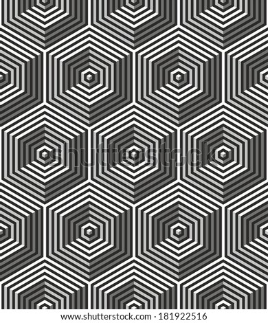 Seamless art deco background:optical illusion - stock vector