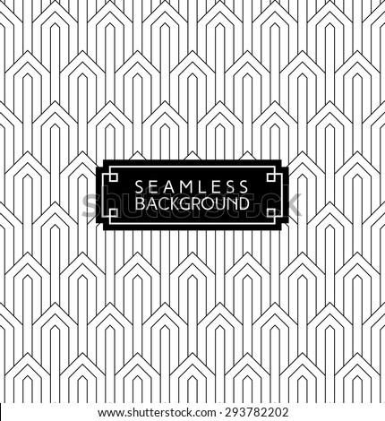 seamless art deco monochrome arabic black and white wallpaper or background with hipster label or badge - stock vector