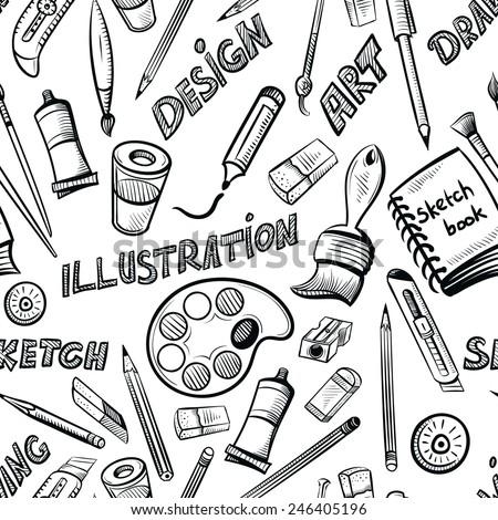 seamless art tools pattern vector illustration - stock vector