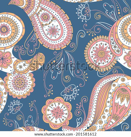 Seamless asian floral retro background pattern in vector. Henna paisley mehndi doodles design ethnic pattern. Used clipping mask for easy editing. Colored version.