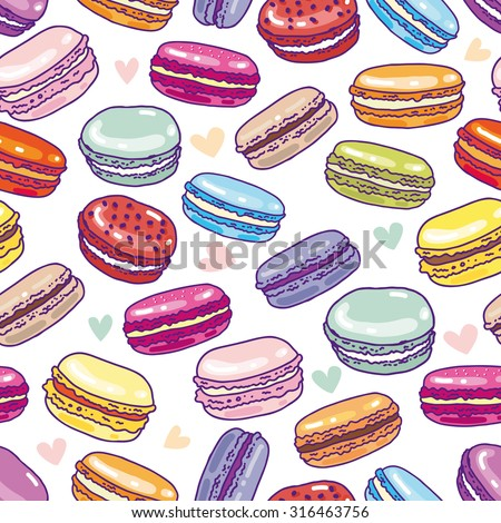 Seamless assorted macarons pattern. Macaroon background - stock vector