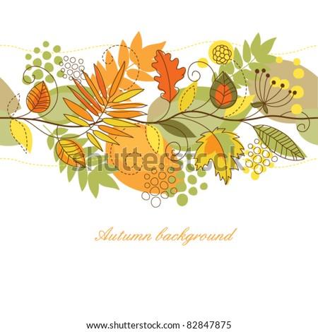 seamless autumn horizontal background - stock vector