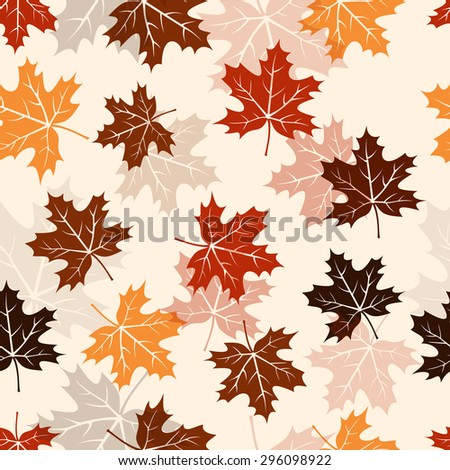 Seamless autumn maple leaves pattern background - stock vector