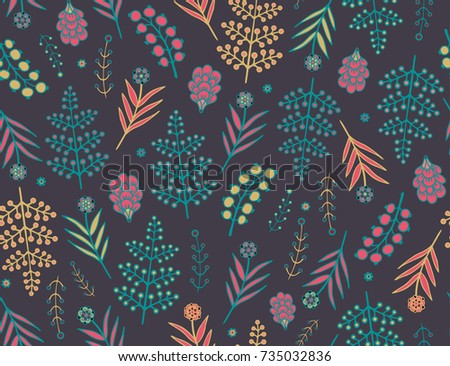 Seamless autumn vector floral pattern with fern leaves on  dark background