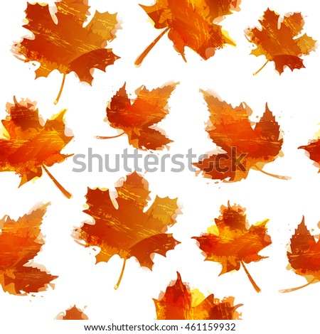 Seamless autumnal texture. Wallpapers with maple leaves. Backdrop with red autumn leaves with the decor of a watercolor texture. Vector.