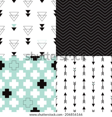 Seamless aztec geometric trend arrow plus sign and triangle chevron background pattern in vector - stock vector