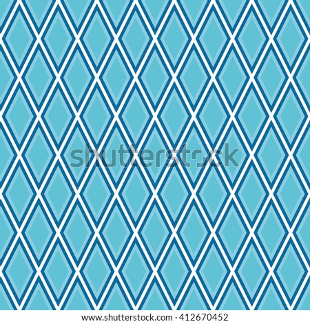 Seamless azure blue outline rhombic pattern vector