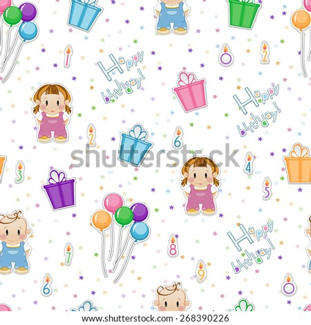 Seamless baby background. Children's background of candles, gifts, balloons, tinsel. A girl and a boy. - stock vector