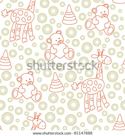 Seamless baby background in retro style - stock vector