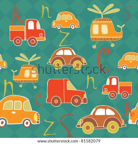 Seamless baby background with cars and alphabet - stock vector