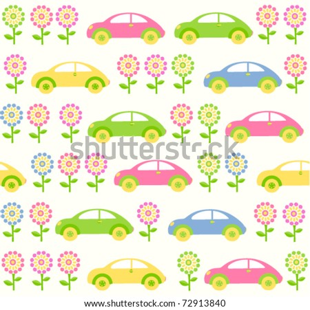 Seamless baby background with cars and flowers - stock vector