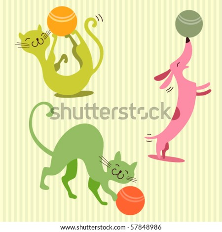 Seamless baby background with cats and dog - stock vector