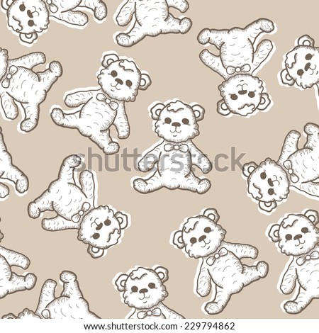 Seamless Baby Background with hand drawn teddy bear. Vector illustration