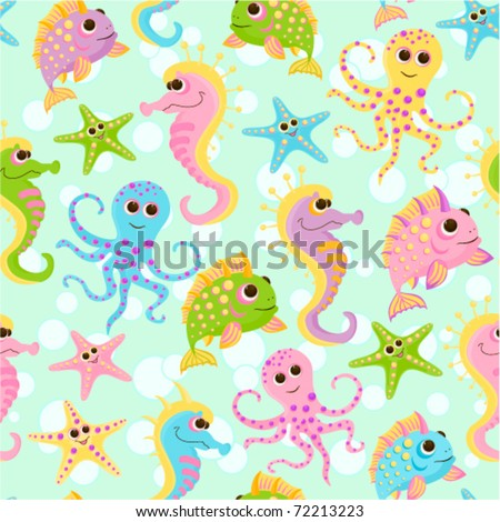 Seamless baby background with the fishes in the sea - stock vector