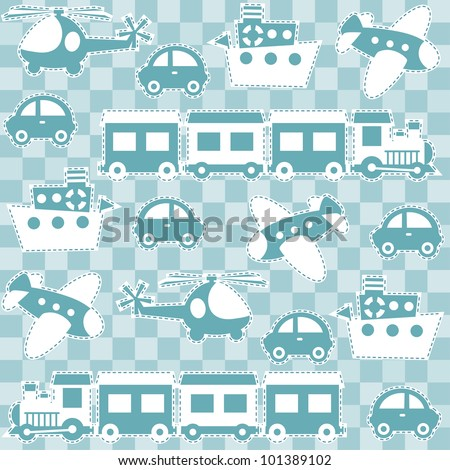 Seamless baby background with toys - stock vector