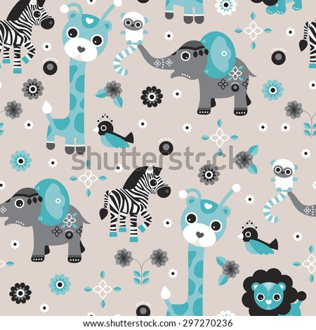 Seamless baby blue boy safari animals zoo illustration elephant giraffe lion zebra and bird background pattern in vector - stock vector