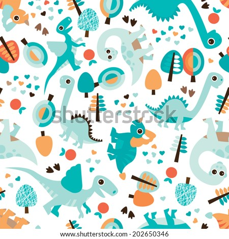 Seamless baby blue dinosaur illustration kids background pattern in vector - stock vector