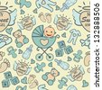 Seamless Baby Boy and Girl Pattern - stock vector