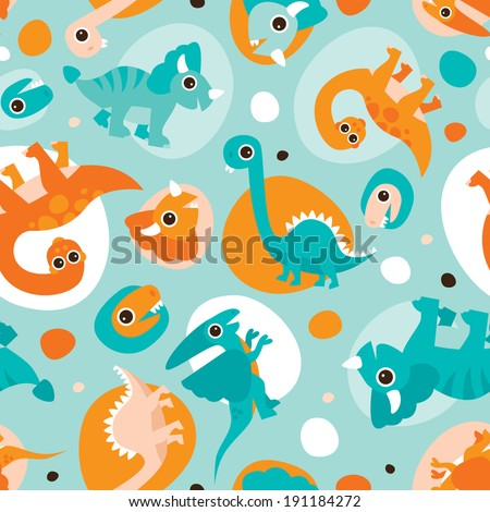 Seamless baby dinosaur animal illustration background bubble pattern in vector  - stock vector