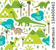 Seamless baby dinosaur animal illustration background pattern in vector - stock vector