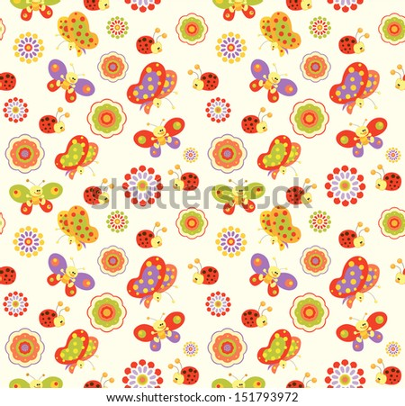 seamless baby flower background - stock vector