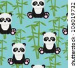 Seamless baby panda wallpaper - stock vector