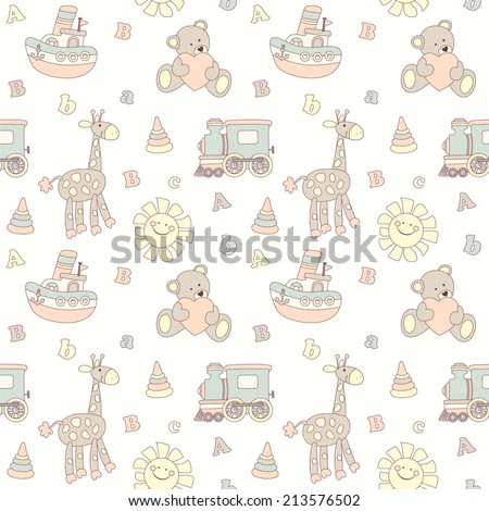 Seamless baby pastel background  - stock vector