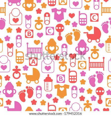 Seamless baby pattern, endless background of baby icons for textiles, interior design, for book design, website background - stock vector