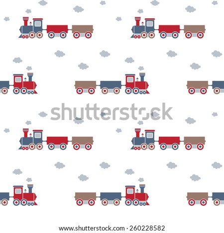 Seamless baby pattern. Many small locomotives on white background - stock vector