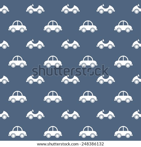 Seamless baby pattern. Many small white cars on blue background - stock vector